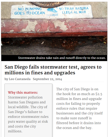 San Diego Fails Stormwater test-Agrees To millions in Fines and upgrades